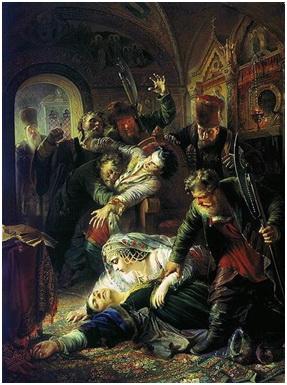 Pintura de Konstantin Makovsky, 1862, sobre el asesinato de FeodorGodunov y de su madre María Grigorievna Skuratova-Belskaya por agentes del falso Dimitri