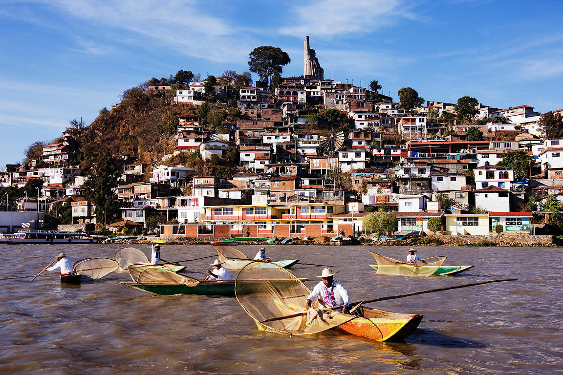 Mexico, Michoacan, Patzcuaro, Lake Patzcuaro, Janitzio Island, Butterfly Fishermen