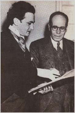 Jacques Singer (entonces director de la Sinfónica de Dallas) y Rolón, en Texas, con motivo de la presentación de la obra Zapotlán en 1941